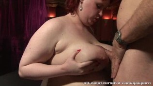 Amateur BBW gets her huge tits oiled and massaged