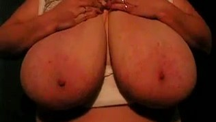 Giant and heavy bbw breasts playing