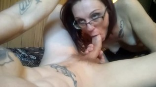 Sexy amateur pov blowjob,wife slurps and swallows huge load of cum